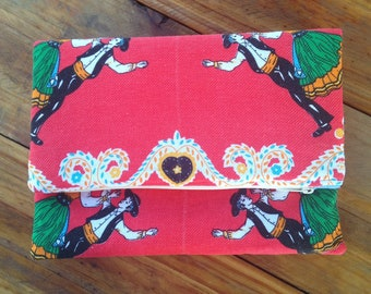 Clutch Bag | Clutch | Foldover Clutch | Portuguese Folk Art | Boho Chic | Eco Friendly| Large Clutch | Gift for Her | Upcycled |