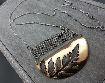 Chainmail necklace, Bronze necklace, Fern leaf, Leaf necklace
