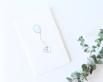 Cute Simple Thank You Card - Blue Balloon - Thank You Note