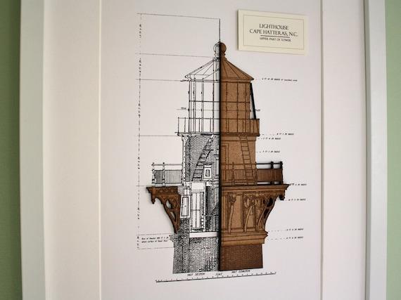 Lighthouse blueprint wood cut nautical decor lighthouse malvernweather Images