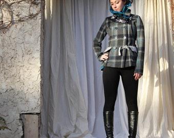upcycled jacket XS - S upcycled clothing, sustainable fashion, double breasted jacket, wool jacket . midnight train