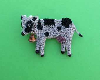 Cow brooch - farm animal, cow jewelry, cow with a bell