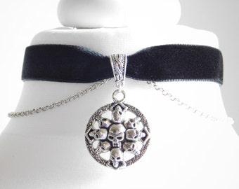 Black Velvet Skull Choker Necklace Gothic