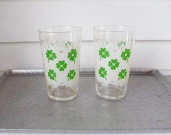 Vintage Drink Glasses Four Leaf Clover Lace Design
