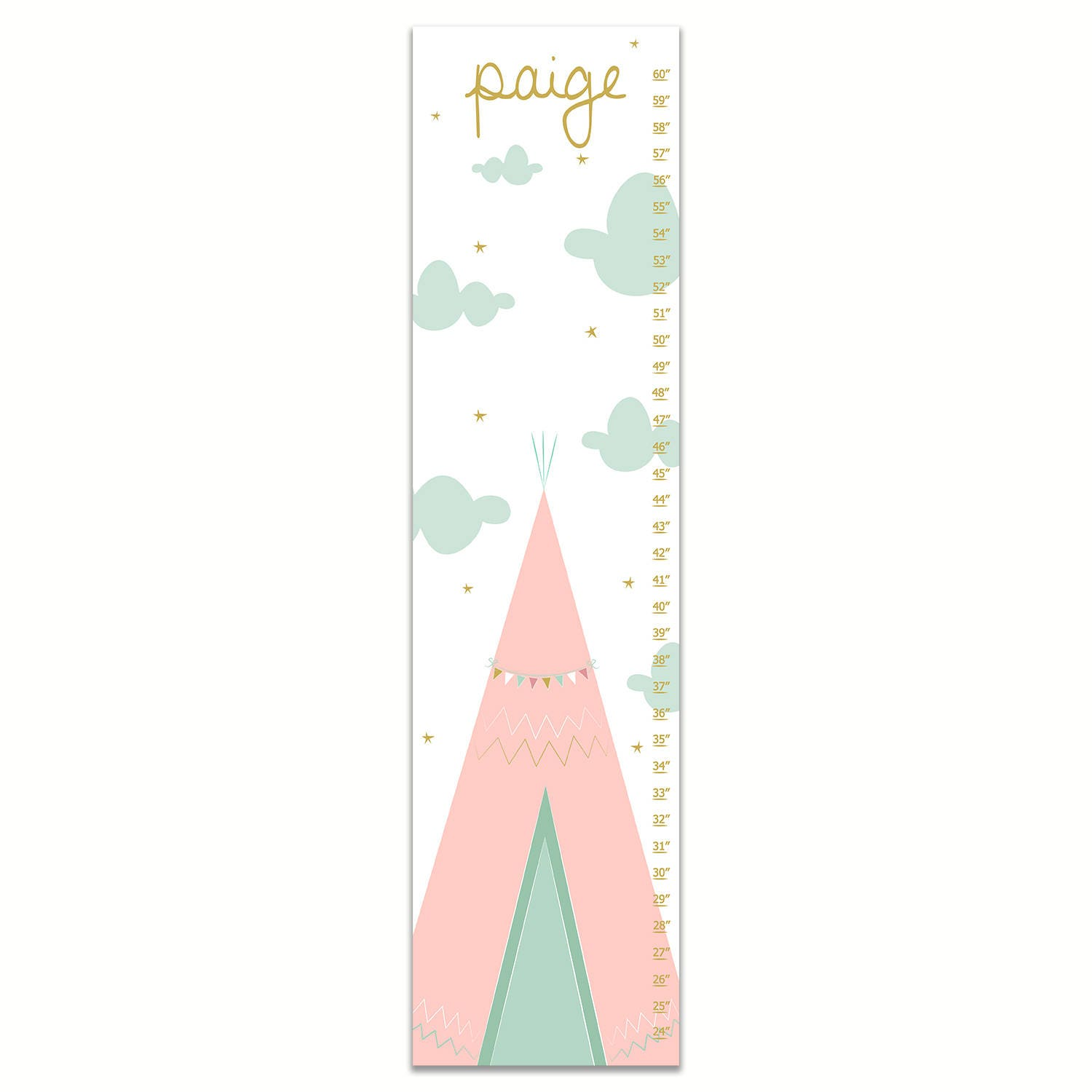 Growth chart teepee growth chart pink gold and mint growth request a custom order and have something made just for you geenschuldenfo Choice Image