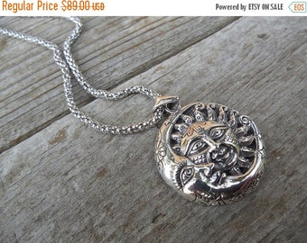 ON SALE Beautiful Moon, star and sun necklace handmade in sterling silver