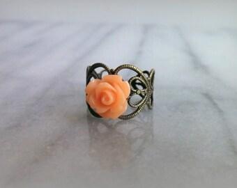 Vintage Peach Rose antique bronze ring