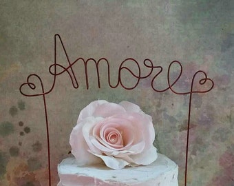 AMORE Wedding Cake Topper, Rustic Wedding Cake Decoration, Bridal Shower Decoration, Anniversary Decoration,Engagement Party Cake Decoration