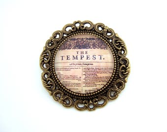 Shakespeare Brooch- The Tempest Brooch- Shakespeare Jewellery- Book Jewellery- Book Lover Gift for Her- Bibliophile Gift- Literary Gift