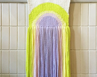 """Handwoven Tapestry Weaving, 10"""" x 28"""" Pastel And Neon Half Circle Sun Weaving With Lots Of Fringe (""""All Those Yesterdays"""")"""