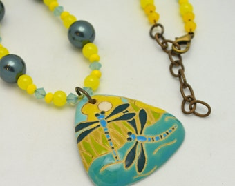 Half Off SALE. Dragonfly Pendant Necklace. Ceramic focal w/ cool water swarovski crystal colors w/ sunny yellow czech glass - One of a Kind.
