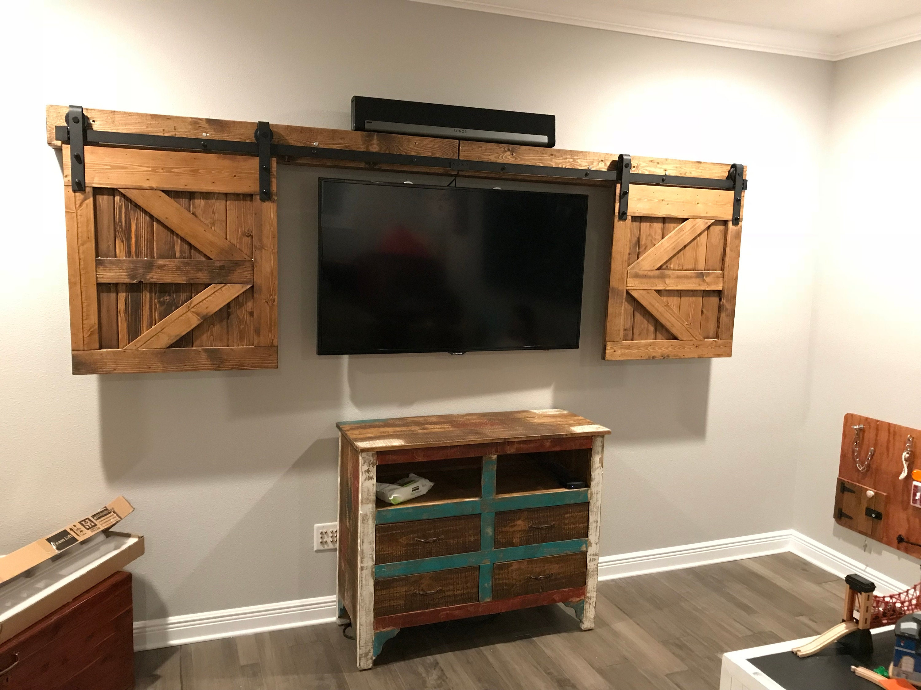 Tv Hide Barn Door Set Rustic Tv Barn Door Sliding