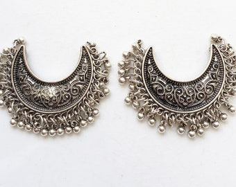 crescent shaped salvaged antiqued silver tone metal earring with tiny beaded dangles and detailed design--matching lot of 2