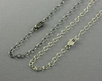 Sterling Silver Chain Necklace, 2.9mm Cable Chain for Pendants Charms, Oxidized or Bright, Antiqued Finish