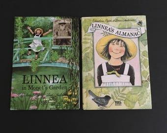 Vintage Linnea Books. Set of 2. Linnea in Monet's Garden. Linnea's Almanac. Christina Bjork.
