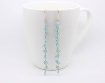 Blue chalcedony earrings, long earrings, dangle drops, something blue earrings, aqua blue summer jewelry, boho jewelry,