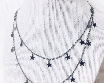 Gunmetal double layer star drop chain necklace