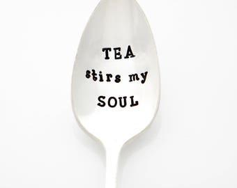 Engraved Tea Spoon. Tea Stirs My Soul. Stamped Spoon. Gift for Tea Lovers, by Milk & Honey.