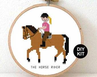 Cross Stitch Kit Horse Rider. Gift for horse riding girl. Modern cross stitch kit including embroidery hoop