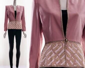 80s NOLAN MILLER DYNASTY Collection Peplum Blazer with Heavily Beaded Brocade Applique Balmain Style Jacket