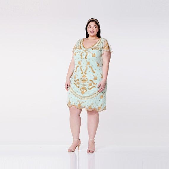Plus Größe Florenz Mint Flapper Brautjungfern Kleid mit Ärmeln