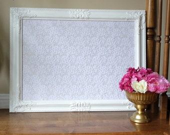 Intricate White Framed Corkboard Cork Board Lace Fabric Seating Chart Escort Cards Wedding Decor