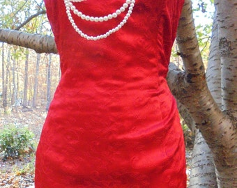 Red  satin dress prom cocktail  formal gown strapless bridesmaid scarlet crimson  small , , from vintage opulence on Etsy