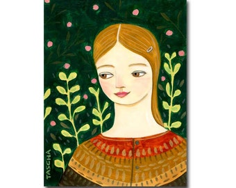 Forest Side eye ORIGINAL portrait painting woman art one of a kind folk art painting by Canadian artist Tascha Parkinson