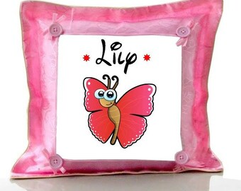 Cushion pink butterfly personalized with name