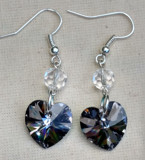 Swarovski Heart Earrings, Swarovski Silver Night Heart Earrings, Black Heart Earrings, Heart earrings with Sterling Silver Ear Wires