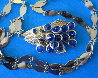 """PISCES ARTICULATED  FISH Necklace With Blue Crystal """"Scales"""""""