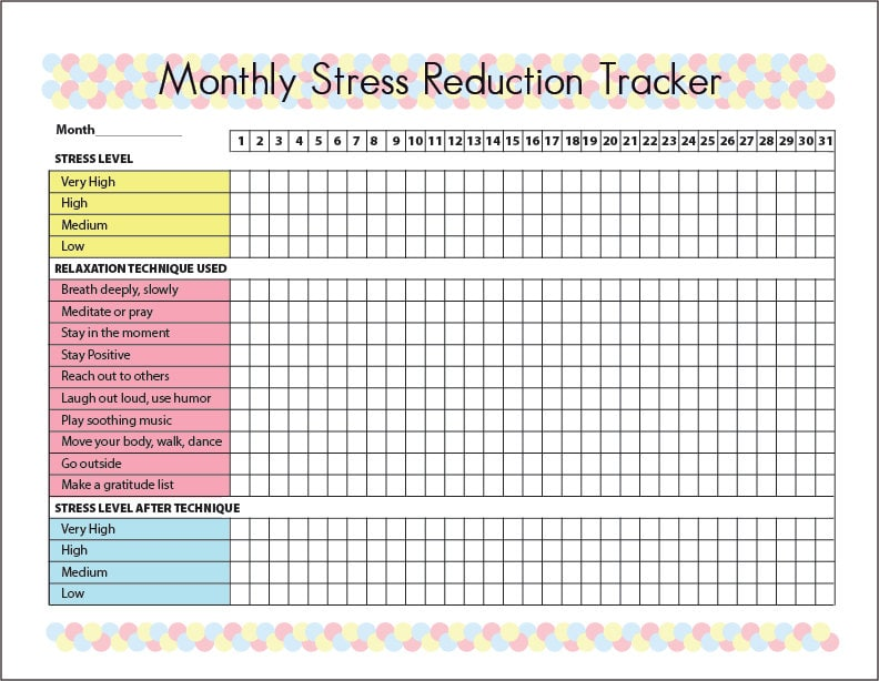 Stress Reduction Tracker Printable Journal Chart Guide With 10