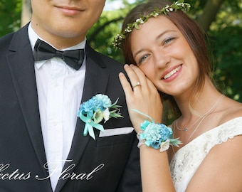 Bridesmaid Wrist Corsage, Wedding Flowers, Wedding Corsage, Blue Corsage, Blush Corsage, Prom Corsage