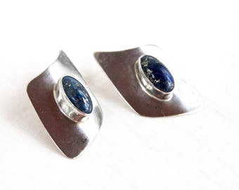 Lapis Earrings Modern Southwestern Asymmetrical Dome Posts Vintage Blue Stone Sterling Silver Jewelry Cobalt