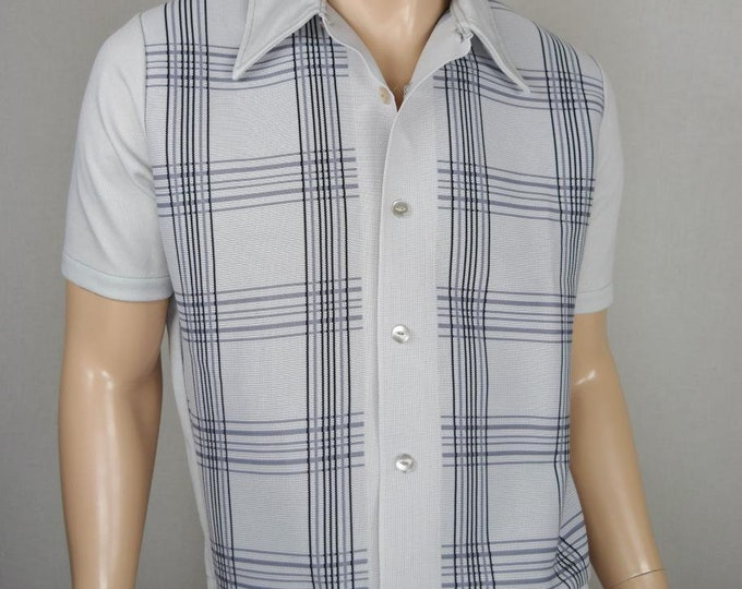 Vintage 1960's Men's Gaucho ReTro ULtrA MOD StriPeD Knit Shirt AtOmiC ErA HiPsTeR L 46