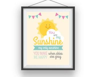 Sunshine Print, Sunshine wall print, Sunshine room art, playroom decor, nursery art, wall decor, children wall art, 8x10 print