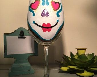 Beautiful Hand Painted Wine Glass SUGAR SKULL *Dia de Los Muertos* Colors: Multi
