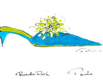 Blue and Green French shoe with pompom, Pen and ink drawing,  11 x 14 in.