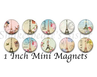 Paris Magnets - Eiffel Tower - Refrigerator Magnets - 1 Inch Mini Magnets - Set of 10 - Kitchen Decor