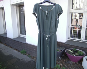 green shortsleeves Dress, green Dress with Puff sleeves, Dress XXL, Plus size clothing, Cottondress
