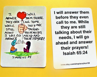 Scripture Doodle of Encouragement Card/Isaiah 65:24/Prayer Magnet/Prayer Bookmark/Answered Prayer/Prayer Doodle/Scripture Kid Art/Jesus