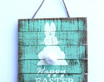 White Bunny Wood wall hanging, farm barn wooden rabbit, Easter Rabbit, turquoise wash , Easter Decor, rustic, spring door decor