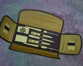 Fabulous Antique Sewing Case with Celluloid Tools, Thread Winders, Bodkins,Needles, Perfect