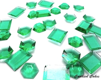 TEAL EDIBLE SUGAR Jewels -Cupcake Toppers, Wedding Cake Decorations, Candy or Dessert Table, Sugar Gems