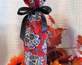Sugar Skull Wine or Sparkling Cider Bag Bottle Cover