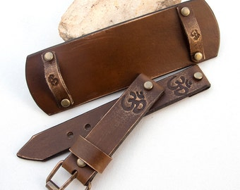 Watch Leather strap, Watch band, OM Watch cuff strap, Esoteric watch strap, Veg tanned leather