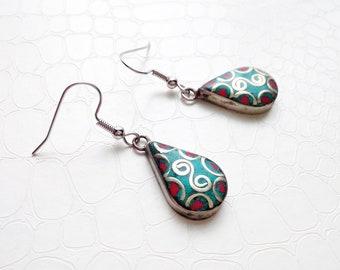 Earrings 'Nour' - Traditional Berber beads, red and turquoise enamels - Ethnic earrings, boho chic, statement earrings, handmade
