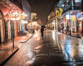 Autumn Rain - Bourbon Street in the Rain - New Orleans 2016 - French Quarter - Night Photograph - Fine Art Photograph - Street Photography