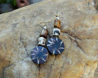 Tribal Batik Bone Earrings