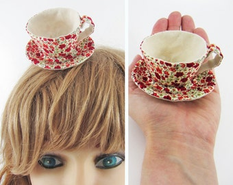 MADE-TO-ORDER ( 1 - 2 Weeks)-Miniature Teacup Hair Slide-Liberty Small Red Floral